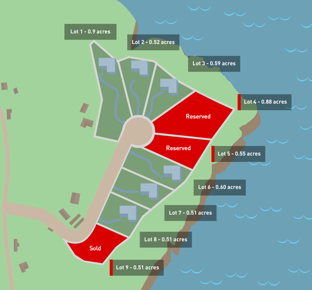 Map of Lots for Sale at Tranquil Point - in Newfoundland, Canada.